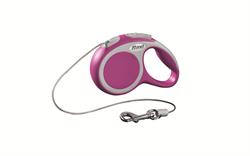 Flexi - Рулетка-трос для собак, размер XS - 3 м до 8 кг (розовая) Vario cord pink - фото 20192