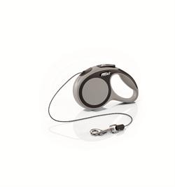 Flexi - Рулетка-трос для собак, размер XS - 3 м до 8 кг (серая) New Comfort Cord grey - фото 20194