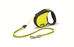 Flexi - Рулетка-трос светоотражающая для собак, размер S (5 м до 12 кг) Neon Reflect cord - фото 20195