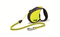 Flexi - Рулетка-трос светоотражающая для собак, размер M (5 м до 20 кг) Neon Reflect cord - фото 20196