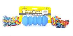 """Benelux - Игрушка для собак резиновая с канатом """"Гантелька"""" 5*30 см Rubber+rope dog toy nr 2 oscar - фото 20231"""