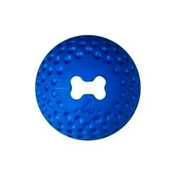 Rogz - Мяч из литой резины с отверстием для лакомств, малый (синий) GUMZ BALL SMALL - фото 20397