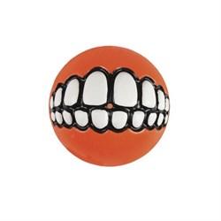Rogz - Мяч с принтом зубы и отверстием для лакомств, малый (оранжевый) GRINZ BALL SMALL - фото 20404