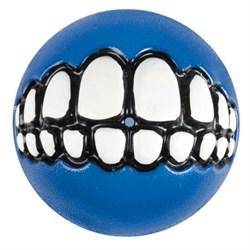 Rogz - Мяч с принтом зубы и отверстием для лакомств, большой (синий) GRINZ BALL LARGE - фото 20408