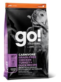 GO! Natural Holistic - Беззерновой для пожилых собак всех пород (4 вида мяса: индейка, курица, лосось, утка) CARNIVORE GF Chicken,Turkey + Duck Puppy Recipe DF - фото 20973