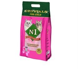 N1 - Силикагелевый наполнитель для кошечек, 5л, (Розовый) Crystals - фото 21011