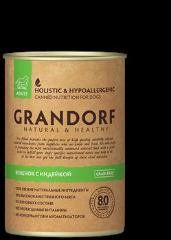 Grandorf - Консервы для взрослых собак (ягненок с индейкой) - фото 21195