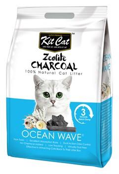 Kit Cat - Наполнитель комкующийся цеолитовый для кошек (с ароматом океанского бриза) Zeolite Charcoal Ocean Wave - фото 21704