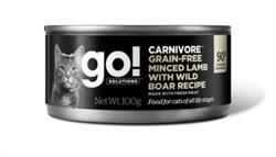 GO! Natural Holistic - Консервы беззерновые для кошек (с рубленым мясом ягненка и дикого кабана) Carnivore Grain Free Minced Lamb with Wild Boar CF - фото 22778