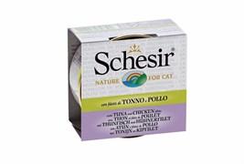Schesir - Консервы для кошек (тунец с куриным филе в бульоне)