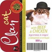 Clan - Консервы для кошек (кусочки в соусе с говядиной и курицей)