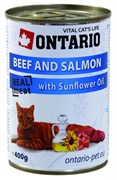 Ontario - Консервы для кошек (говядина и лосось) Beef and Salmon,Sunflower Oil