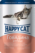 Happy Cat - Паучи для кошек (с говядиной и птицей)