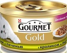 Purina Gourmet - Влажный корм для кошек (с кроликом и печенью) Gold Двойное удовольствие