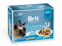 """Brit - Набор паучей кусочки в соусе для кошек """"Семейная тарелка"""" (12 шт*85 г) Family Plate Gravy"""