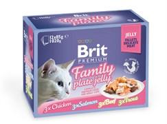 "Brit - Набор паучей кусочки в желе для кошек ""Семейная тарелка"" (12 шт*85 г)  Family Plate Jelly"