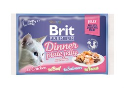 "Brit - Набор паучей для кошек ""Кусочки в желе"" (4 шт*85 г) Dinner Plate Jelly"