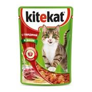 Kitekat - Паучи для кошек (с говядиной в желе)
