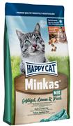 Happy Cat - Сухой корм для взрослых кошек (с птицей, ягненком и рыбой) Minkas Mix