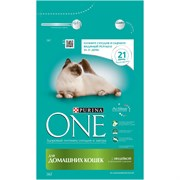 Purina ONE - Сухой корм для домашних кошек (с индейкой и цельными злаками)