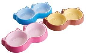 Dezzie - Миска для кошек, двойная 2х150 мл, 28,2*15,8*4 см, пластик (цвет в ассортименте)