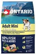 Ontario - Сухой корм для собак малых пород (с 7 видами рыбы и рисом) Adult Mini, 7 Fish & Rice