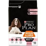 Purina Pro Plan - Сухой корм для взрослых собак старше 7 лет средних и крупных пород с чувствительной кожей с комплексом (с лососем и рисом) OPTIDERMA