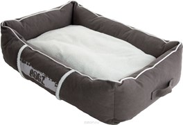 Rogz - Лежак с бортиком и двусторонней подушкой, серый/кремовый, средний (72x45x25 см) LOUNGE POD MEDIUM