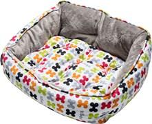 """Rogz - Мягкий лежак с двусторонней подушкой """"Разноцветные косточки"""", размер M (56х43х29см) TRENDY PODZ"""