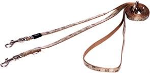 "Rogz - Поводок-перестежка для собак малых пород ""Коричневые косточки"", размер S (ширина 12 мм, длина 1,1-1,4-1,8 м) MULTI PURPOSE LEAD"
