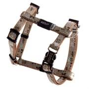 """Rogz - Шлейка для собак малых пород """"Коричневые косточки"""" (размер M (40-70 см), ширина 16 мм) H-HARNESS"""