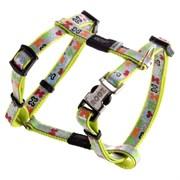"""Rogz - Шлейка для собак малых пород """"Разноцветные косточки"""" (размер XS (22-34 см), ширина 8 мм) H-HARNESS"""