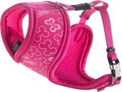 """Rogz - Шлейка-манишка для собак малых пород """"Розовые косточки"""" (размер S (32-44 см), ширина 12 мм) FABRIC HARNESS"""