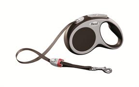 Flexi - Рулетка-ремень для собак, размер S - 5 м до 15 кг (коричневая) Vario tape brown