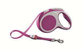 Flexi - Рулетка-ремень для собак, размер M - 5 м до 25 кг (розовая) Vario tape pink