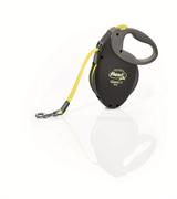 Flexi - Рулетка-ремень для собак, размер M - 8 м до 25 кг (черная+неон) GIANT Neon tape Black