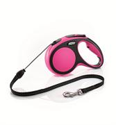 Flexi - Рулетка-трос для собак, размер M - 5 м до 20 кг (розовая) New Comfort Cord pink