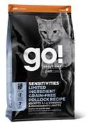 GO! Natural Holistic - Сухой корм беззерновой для котят и кошек с чувствительным пищеварением (с минтаем) Sensitivity + Shine Grain Free Pollock Cat Recipe