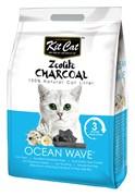 Kit Cat - Наполнитель комкующийся цеолитовый для кошек (с ароматом океанского бриза) Zeolite Charcoal Ocean Wave