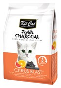 Kit Cat - Наполнитель комкующийся цеолитовый для кошек (с ароматом цитруса) Zeolite Charcoal Citrus Blast