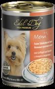 Edel Dog - Консервы для собак нежные кусочки в соусе (птица с морковью)