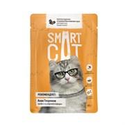 Smart Cat - Паучи для взрослых кошек и котят (кусочки курицы со шпинатом в нежном соусе)