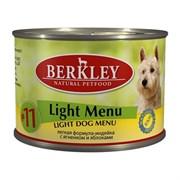 Berkley - Консервы для собак (с индейкой, ягненком и яблоками, легкая формула) Light Menu