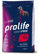 Prolife - Сухой корм беззерновой для взрослых собак малых пород с чувствительным пищеварением (с говядиной и картофелем) Grain Free Adult Sensitive Mini
