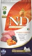 Farmina - Беззерновой корм для взрослых собак мелких пород (ягненок с черникой и тыква) N&D Pumpkin lamb & blueberry adult mini dog
