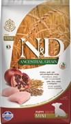 Farmina - Низкозерновой корм для щенков мелких и карликовых пород ( курица с гранатом) N&D Low Grain Chicken&Pomegrante Puppy Mini
